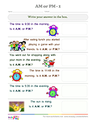 Worksheets Am And Pm Worksheets testaday a m or p 1