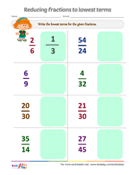 math worksheet : testaday : Lowest Terms Fractions Worksheet